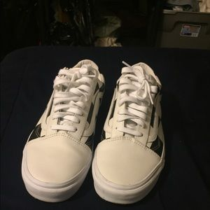 leather white old skool vans size 10 in mens